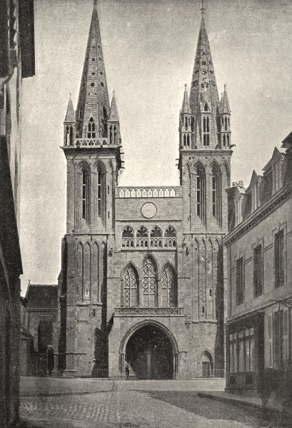 Associate Product FINISTÈRE. St- pol- de- Leon. Ancienne Cathédrale 1895 old antique print