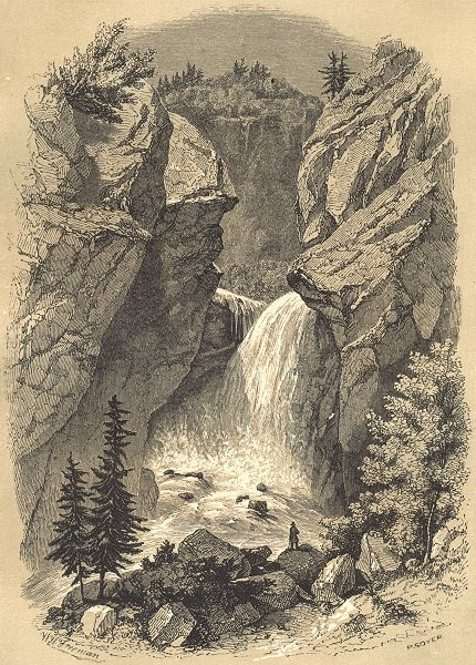 LANDSCAPES. Paysage Alpestre 1852 old antique vintage print picture