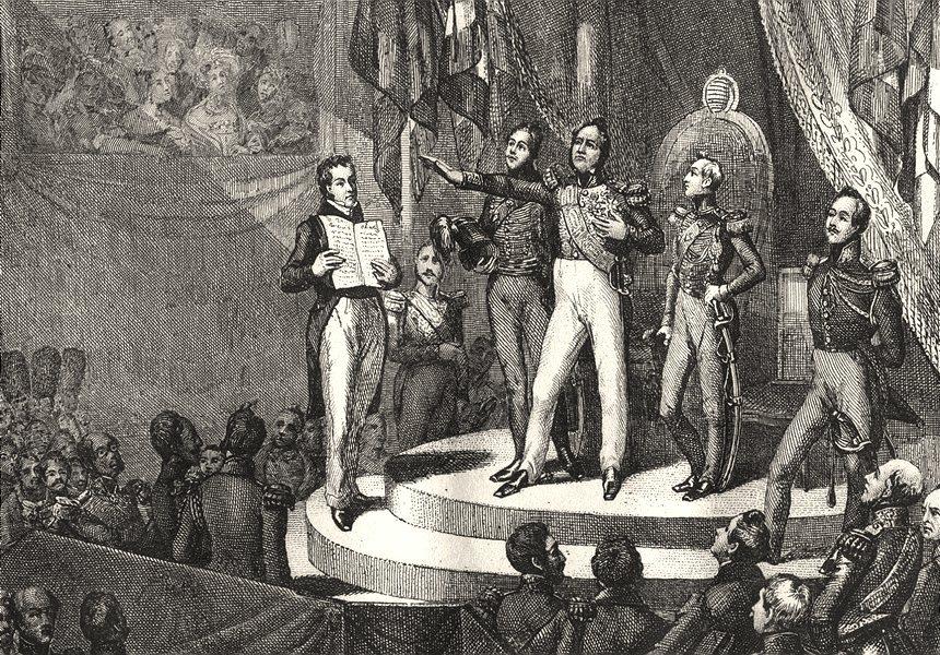FRANCE. Serment de Louis- Philippe 9 Aout 1830 1835 old antique print picture