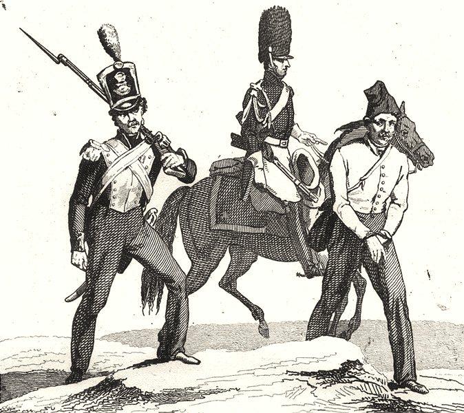 Associate Product FRANCE. Gendarmerie en 1834 1835 old antique vintage print picture