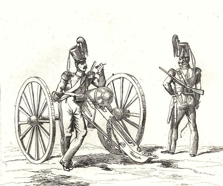 Associate Product FRANCE. Troupes Françaises en 1834 Artillerie 1835 old antique print picture