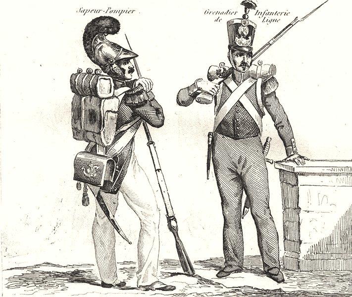 Associate Product FRANCE. Troupes Françaises en 1834 (1)  1835 old antique vintage print picture