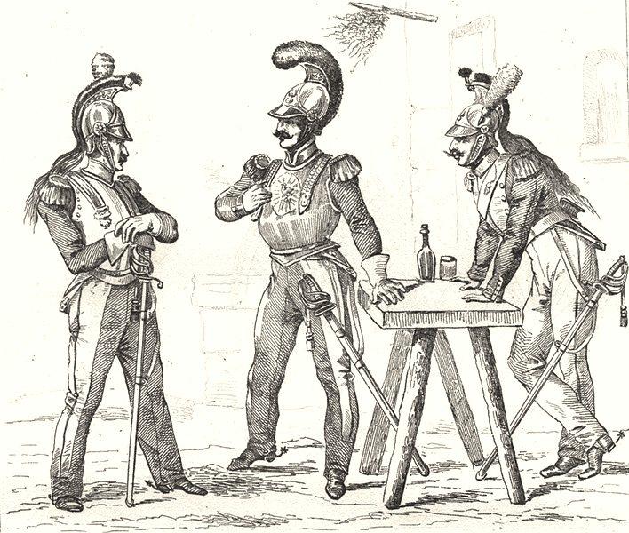 Associate Product FRANCE. Troupes Françaises en 1834; Cuirassier; Carabinier; Dragon 1835 print