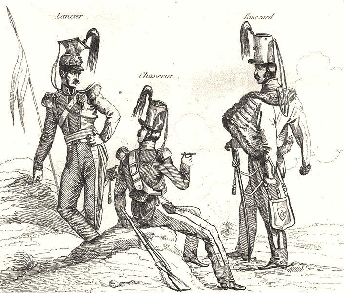Associate Product FRANCE. Troupes Françaises en 1834 (2)  1835 old antique vintage print picture