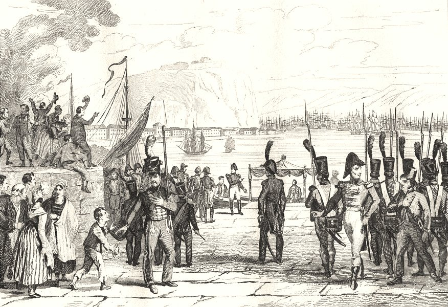 Associate Product MANCHE. Napoléon visitant le port de Cherbourg 1835 old antique print picture