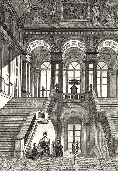 Associate Product FRANCE. Grand Escalier du Musée 1835 old antique vintage print picture