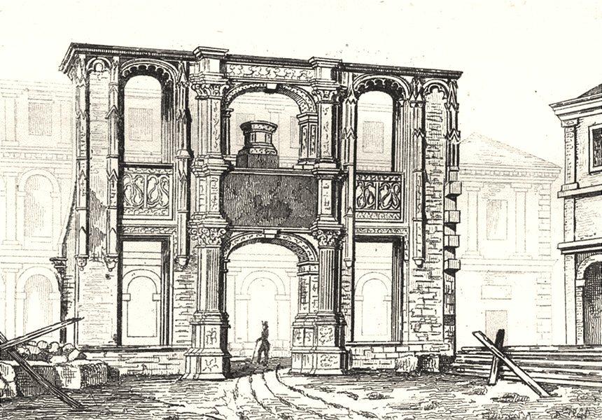 FRANCE. Arc de Gaillon- entrée de L'Ecole des beaux Arts 1835 old print