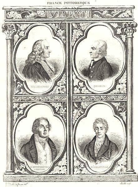 Associate Product FRANCE. Malesherbes; Oberlin; La Rochefoucauld Liancourt; Doudeauville 1835
