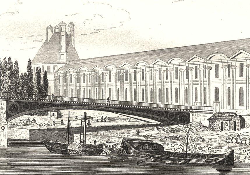 Associate Product FRANCE. Port St. Nicolas et pont du Carrousel 1835 old antique print picture