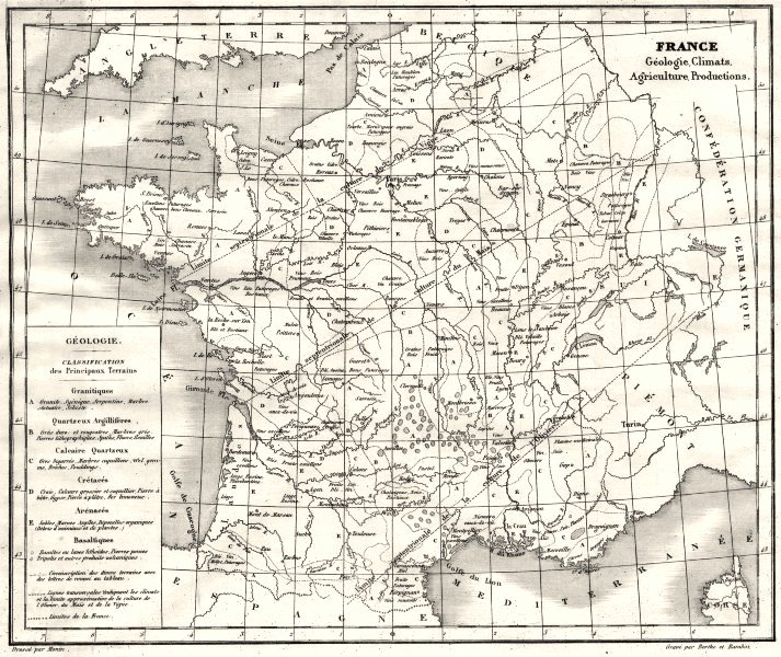 Associate Product FRANCE. France Géologie, climats, Agriculture productions 1835 old antique map