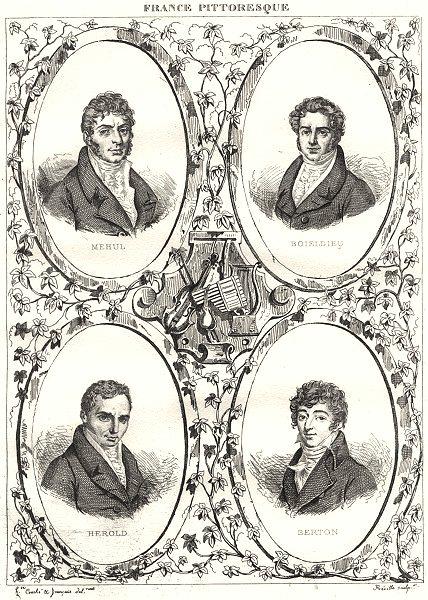Associate Product FRANCE. Mehul; Boileldieu; Herold; Berton 1835 antique print picture
