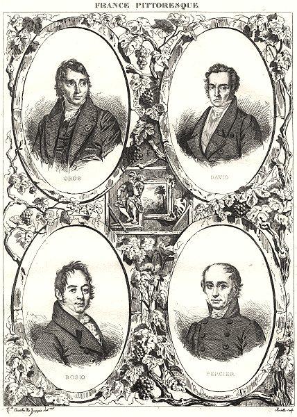 Associate Product FRANCE. Gros; David; Bosio; Percier 1835 old antique vintage print picture