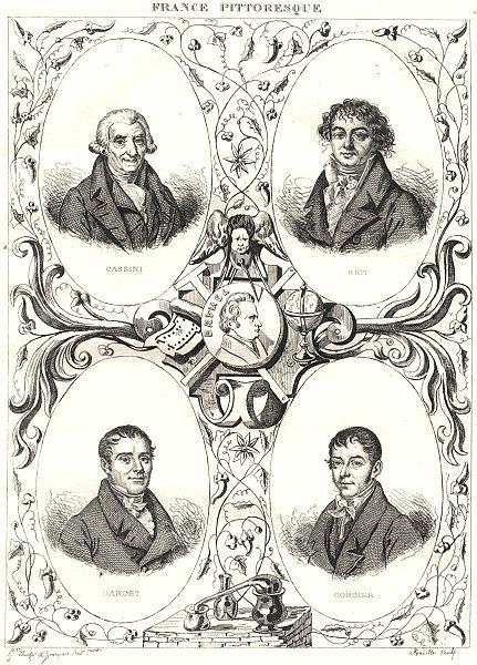 Associate Product FRANCE. Cassini; Biot; Darcet; Cordier 1835 old antique vintage print picture