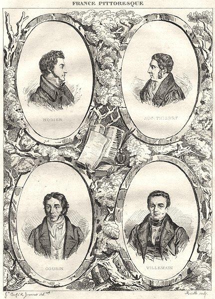 Associate Product FRANCE. Nodier; Aug. Thierry; Cousin; Villemain 1835 old antique print picture