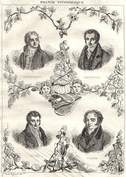 Associate Product FRANCE. Raynouard; Lemercier; Duval; Picard 1835 old antique print picture