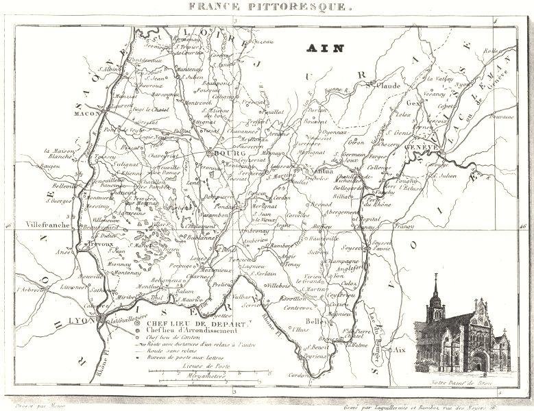 Associate Product AIN. Ain. Département  1835 old antique vintage map plan chart