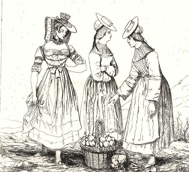 Associate Product AIN. Costumes de L'Ain (Bresse)  1835 old antique vintage print picture
