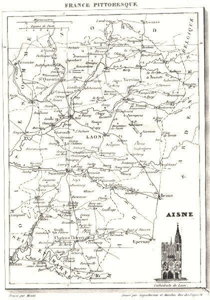 Associate Product AISNE. Aisne. Département  1835 old antique vintage map plan chart