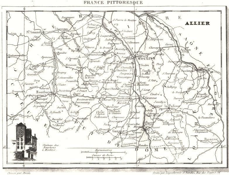 Associate Product ALLIER. Allier. Département  1835 old antique vintage map plan chart