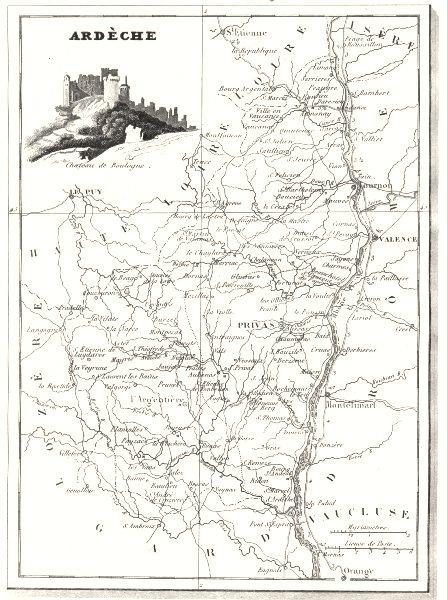 Associate Product ARDÈCHE. Ardèche. Département  1835 old antique vintage map plan chart
