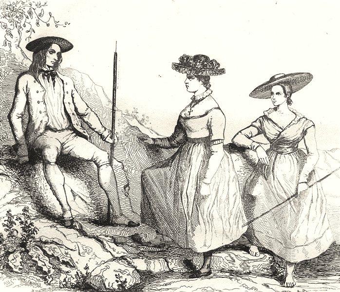 Associate Product ARDÈCHE. Costumes de L'Ardèche 1835 old antique vintage print picture