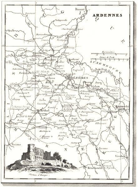 Associate Product ARDENNES. Ardennes. Département  1835 old antique vintage map plan chart