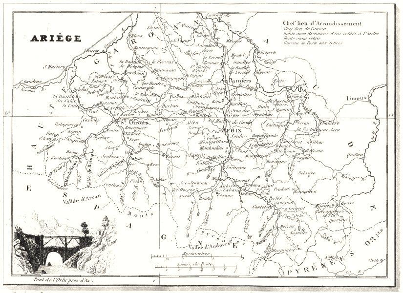 Associate Product ARIÈGE. Ariège. Département  1835 old antique vintage map plan chart