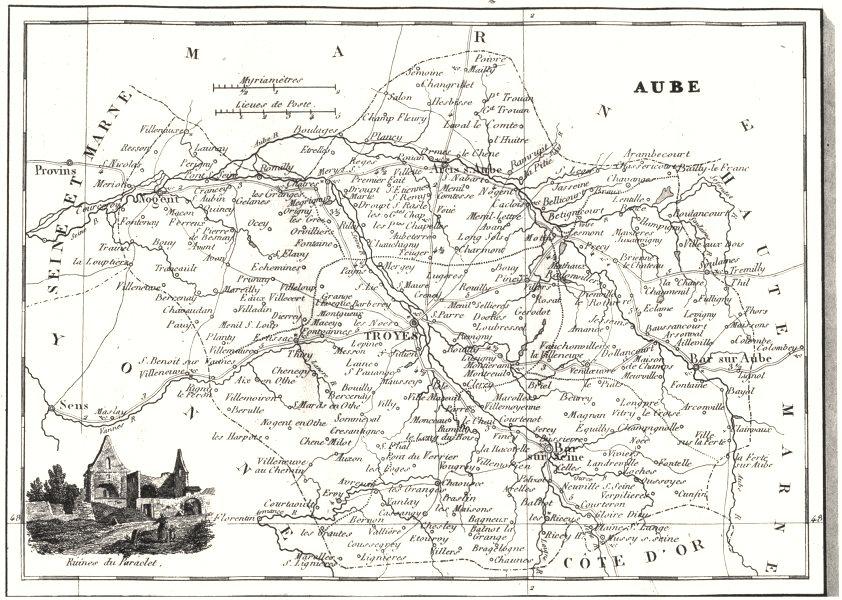 Associate Product AUBE. Aube. Département  1835 old antique vintage map plan chart