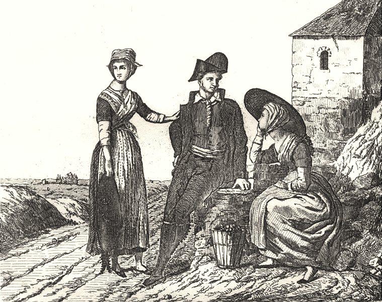 Associate Product AUDE. Costumes de L'Aude 1835 old antique vintage print picture
