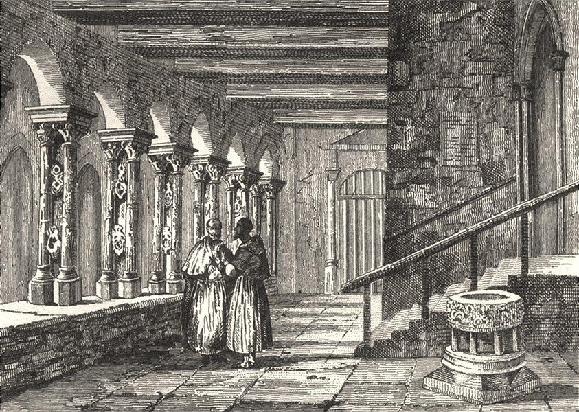 Associate Product AVEYRON. Ancien Cloître à Rhodez 1835 old antique vintage print picture