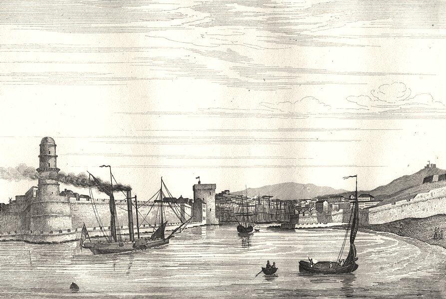 Associate Product BOUCHES-DU-RHÔNE. Rhone. Marseille (Entrée port)  1835 old antique print