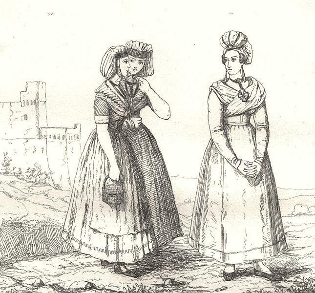 Associate Product BOUCHES-DU-RHÔNE. Rhone.Costumes des Bouches-Du-Rhône 1835 old antique print
