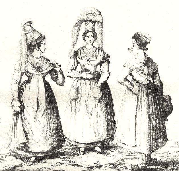 CALVADOS. Femmes de Lisieux et de Bayeux 1835 old antique print picture