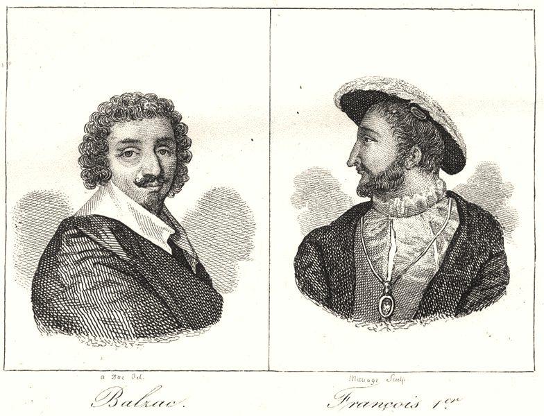 Associate Product CHARENTE. Balzac; François Ier 1835 old antique vintage print picture