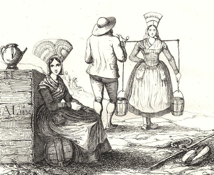 Associate Product CHARENTE-MARITIME. Inférieure. Femmes de Rochefort 1835 old antique print