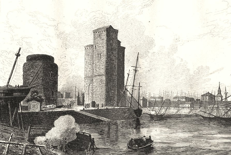 Associate Product CHARENTE-MARITIME. Inférieure. Port de La Rochelle 1835 old antique print