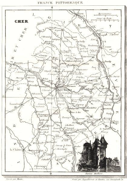 Associate Product CHER. Cher. Département  1835 old antique vintage map plan chart
