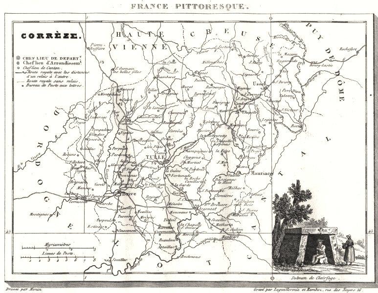 Associate Product CORRÈZE. Corrèze. Département  1835 old antique vintage map plan chart