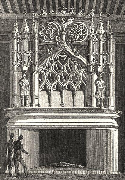 Associate Product CÔTE-D'OR. Cheminée de la salle des Gardes 1835 old antique print picture