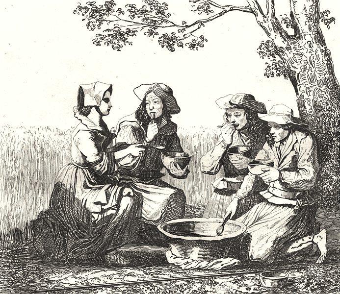 Associate Product CÔTES-D'ARMOR. Cotes-du-Nord.Moissonneurs Côtes-d'Armor 1835 old antique print