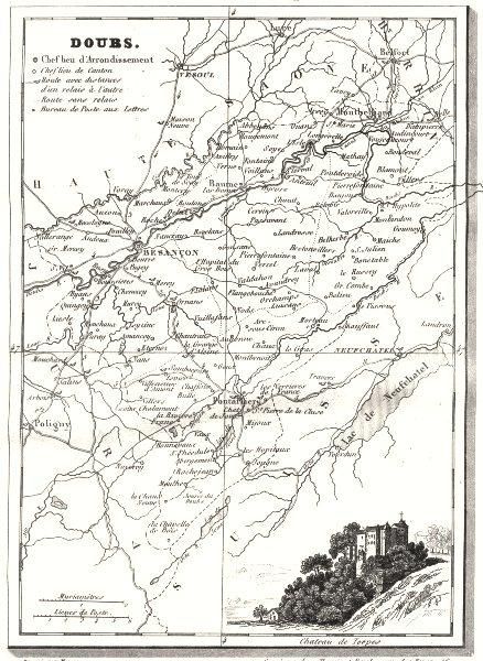 Associate Product DOUBS. Doubs. Département  1835 old antique vintage map plan chart