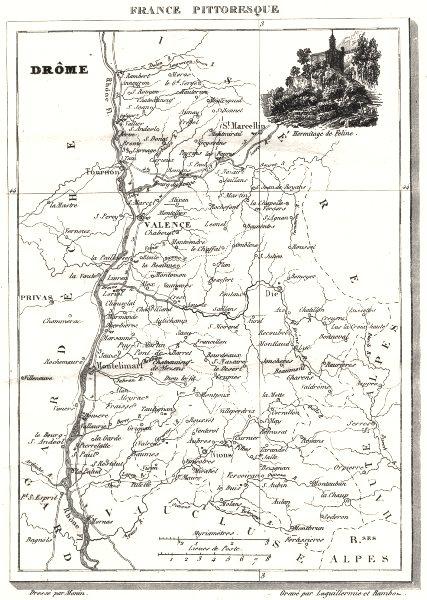 Associate Product DRÔME. Département de la Drôme 1835 old antique vintage map plan chart