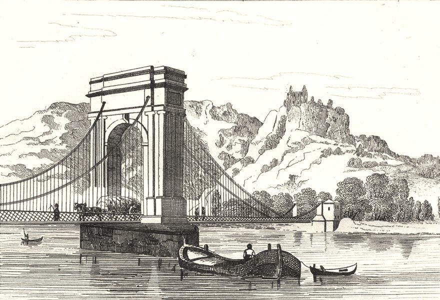 Associate Product DRÔME. . Pont Valence; Ruines du Chateau Crussol 1835 old antique print