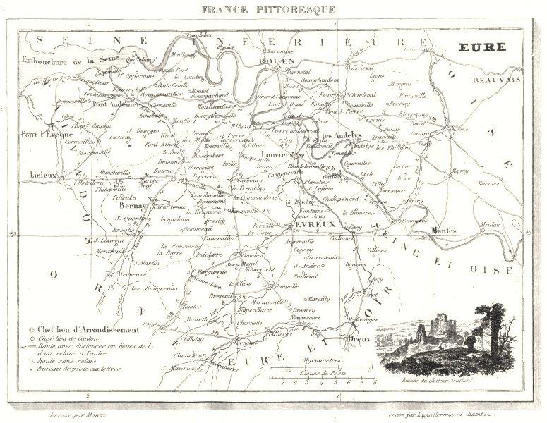 Associate Product EURE. Département de I'Eure 1835 old antique vintage map plan chart