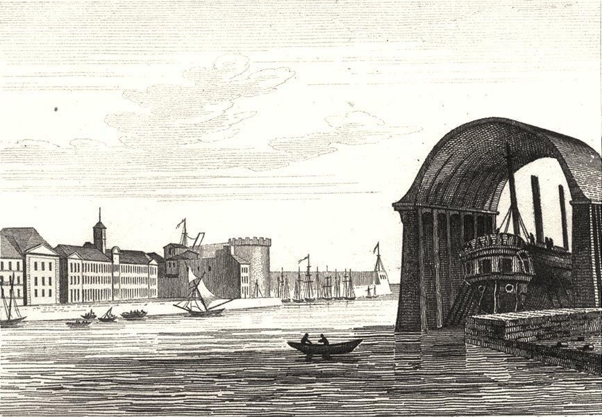Associate Product FINISTÈRE. Port de Brest 1835 old antique vintage print picture