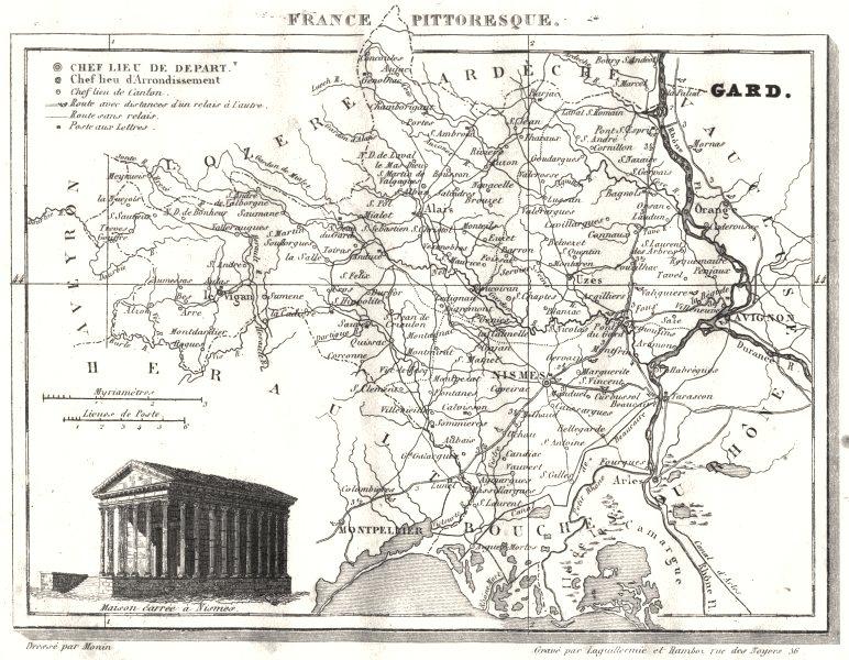 Associate Product GARD. Département du Gard 1835 old antique vintage map plan chart