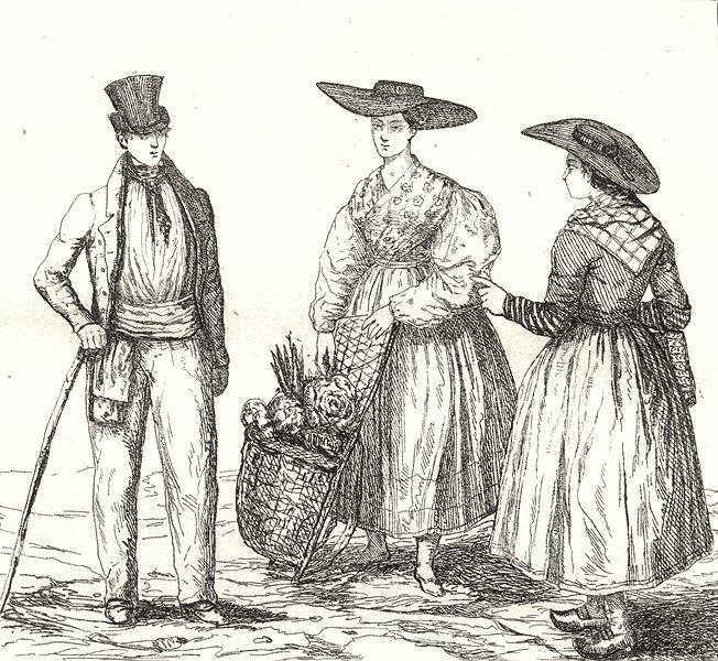 GARD. Costumes du Gard 1835 old antique vintage print picture