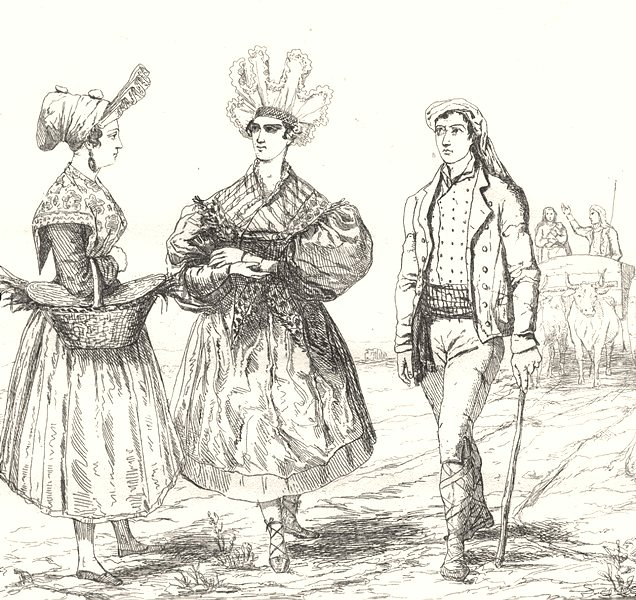 Associate Product HAUTE-GARONNE. Costumes Toulouse Haute-Garonne 1835 old antique print picture