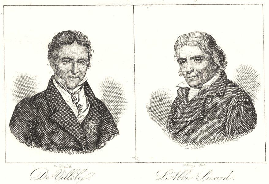 Associate Product HAUTE-GARONNE. De Villéle; L'Abbe Sicard 1835 old antique print picture