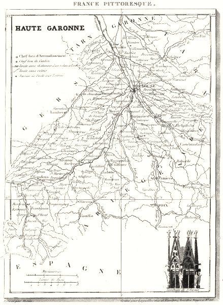 Associate Product HAUTE-GARONNE. Département de la Haute-Garonne 1835 old antique map plan chart